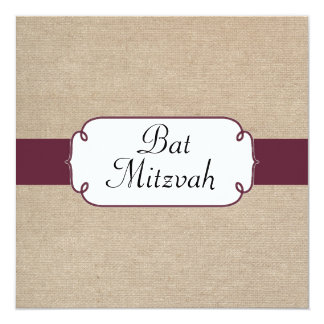 Vintage Sangria and Beige Burlap Bat Mitzvah Card