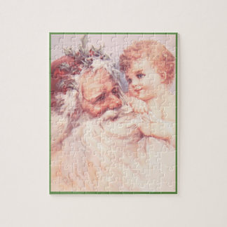 Vintage Santa And Young Child | Green Border Jigsaw Puzzle