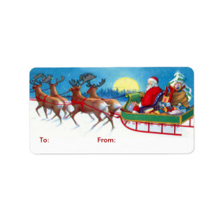 Vintage Santa Christmas Gift Tags Address Label