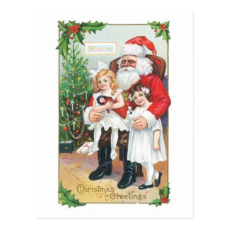 Vintage Santa Christmas Greetings Postcard