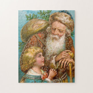 Vintage Santa Claus with Boy Jigsaw Puzzle