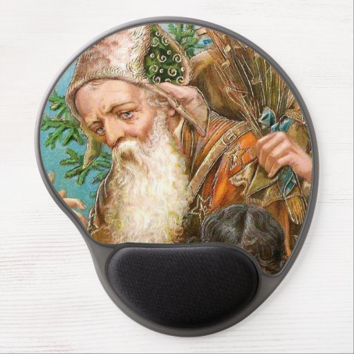 Vintage Santa Claus with Naughty Girl Gel Mouse Pad