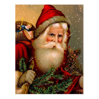 Vintage Santa Claus with Walking Stick Postcard