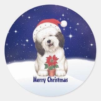 Vintage Santa Dog and Poinsettia Christmas Sticker