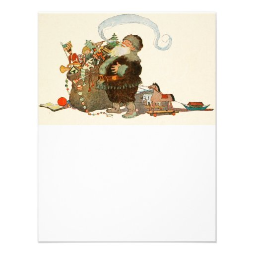 Vintage Santa Elf With Pipe and Sack of Toys Custom Announcement