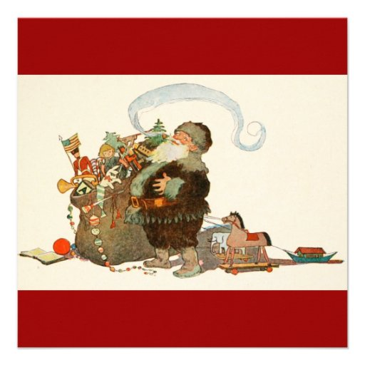Vintage Santa Elf With Pipe and Sack of Toys Custom Invitations