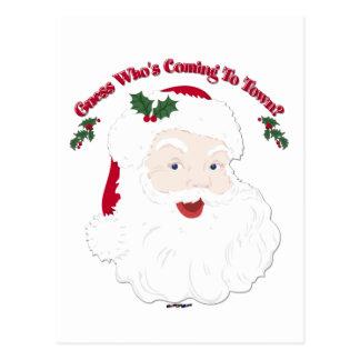 Vintage Santa Guess Who's Coming? Postcard