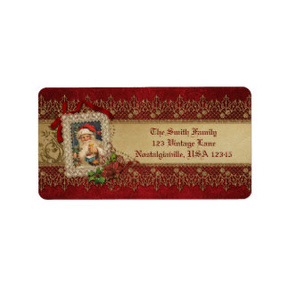 Vintage Santa with Poinsettia and Gold Lace Label