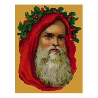 Vintage Santa With Wreath Postcard