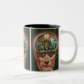 Vintage Science Fiction, Alien Brain in Laboratory Two-Tone Coffee Mug