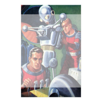 Vintage Science Fiction Astronauts Fixing a Robot Stationery