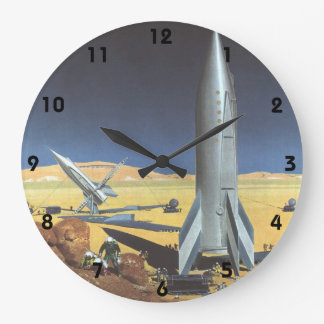 Vintage Science Fiction Desert Planet with Rockets Wallclocks