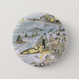 Vintage Science Fiction Futuristic Cars, Taxi Cabs 6 Cm Round Badge
