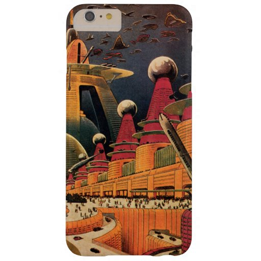 Vintage Science Fiction Futuristic City Flying Car Barely There iPhone 6 Plus Case