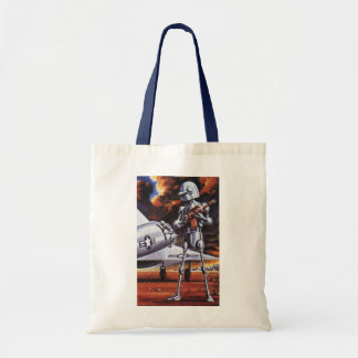 Vintage Science Fiction Military Robot Soldiers Tote Bag