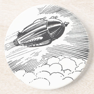 Vintage Science Fiction Spaceship Rocket in Clouds Coaster
