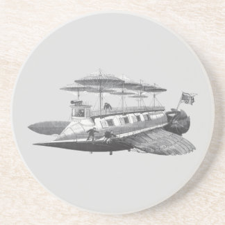 Vintage Science Fiction Steampunk Airship Eclipse Coaster