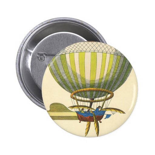 Vintage Science Fiction Steampunk Hot Air Balloon Pinback Button
