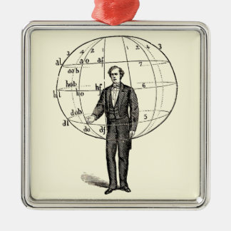Vintage Scientific Illustration of a Man Gesturing Christmas Ornament