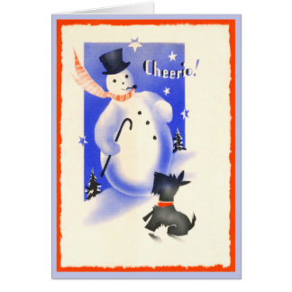Vintage Scottie Dog and Snowman Greeting Card
