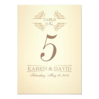 Vintage Scrolls Custom Wedding Table Number Cards 13 Cm X 18 Cm Invitation Card