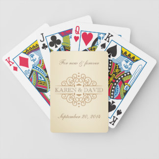 Vintage Scrolls Wedding Couple's Custom Bicycle Playing Cards