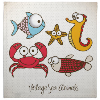 Vintage Sea Animals Cloth Napkin