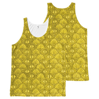 Vintage Seashells Grunge Yellow All-Over Print Singlet