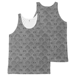 Vintage Seashells Pewter Gray All-Over Print Singlet