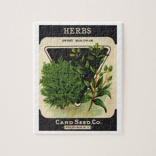 Vintage Seed Packet Label Art Sweet Marjoram Herbs Puzzles