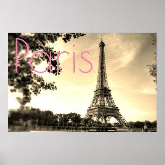 Vintage Sepia Eiffel Tower Paris Love City Poster