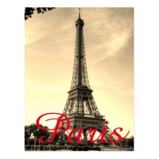 Vintage Sepia Eiffel Tower Paris Love City Travel Postcard