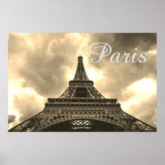 Vintage Sepia Eiffel Tower Paris Romantic Love Poster