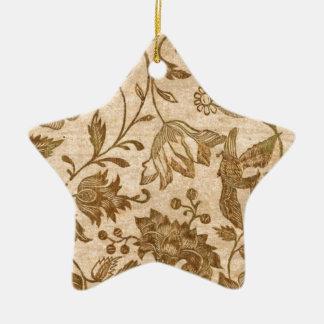 Vintage Sepia Floral Pattern Design Christmas Ornament