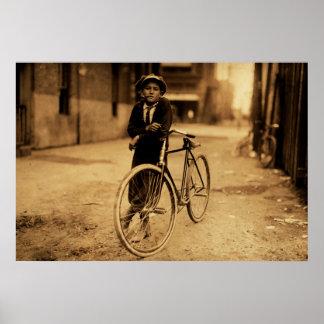 Vintage Sepia Kid Smoking Pipe Leaning on Bicycle Poster