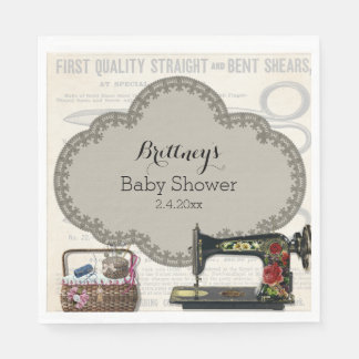 Vintage Sewing Baby Shower Disposable Serviettes