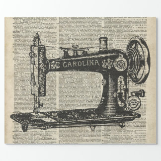 Vintage Sewing Machine Stencil Over Old Book Page Wrapping Paper