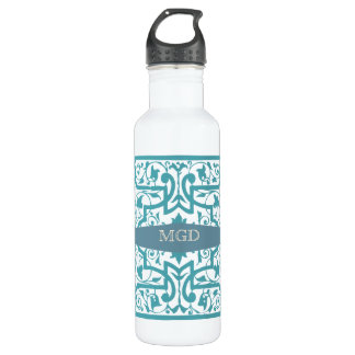 Vintage shabby and chic intricate damask monogram 710 ml water bottle