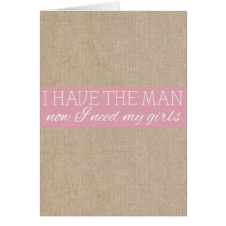 Vintage Shabby Chic Pink Burlap Bridesmaid Request Note Card
