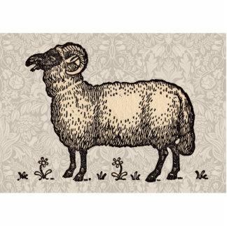 Vintage Sheep Farm Animal Illustration Photo Sculpture Magnet