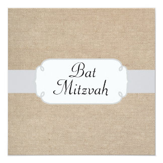 Vintage Silver and Beige Burlap Bat Mitzvah 13 Cm X 13 Cm Square Invitation Card