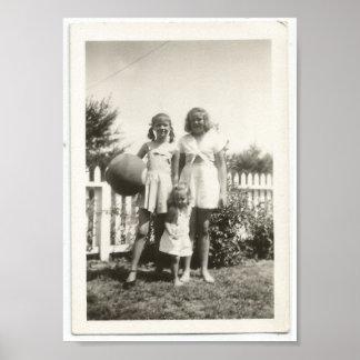 Vintage Sisters Playing Kickball Posters