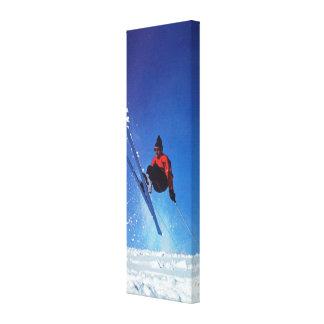Vintage ski  image, Downhill run Canvas Print