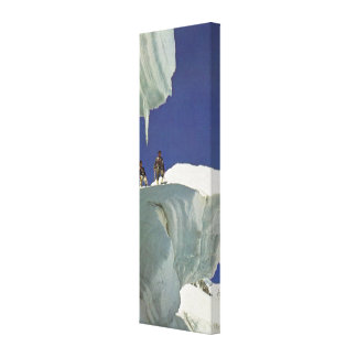 Vintage ski  image, snowy ledge canvas print