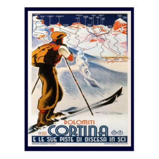 Vintage Ski Poster,   Dolomites, Cortina Postcard