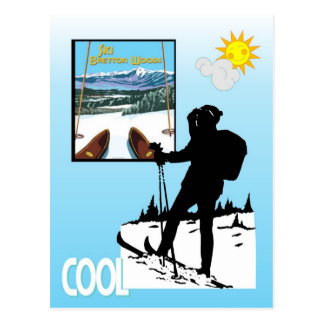 Vintage Ski Poster,  Ski Bretton Woods Postcard