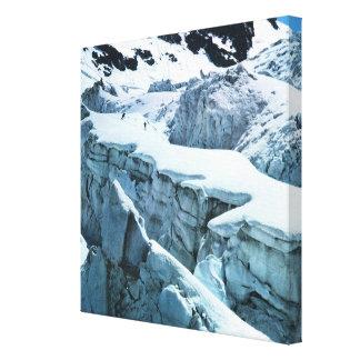 Vintage Ski Poster, Skiers on Mount Blanc Canvas Print