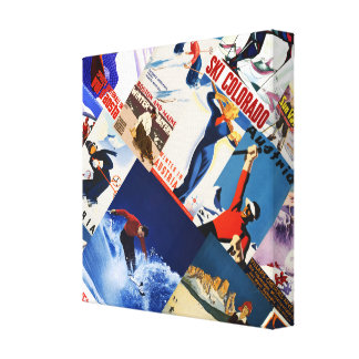 Vintage Skiing Travel posters collage Canvas
