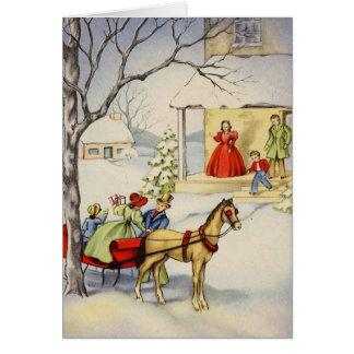 vintage sleigh ride Christmas_Card Card