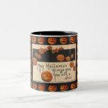 Vintage Smiling Halloween Jack o'Lanterns Two-Tone Mug